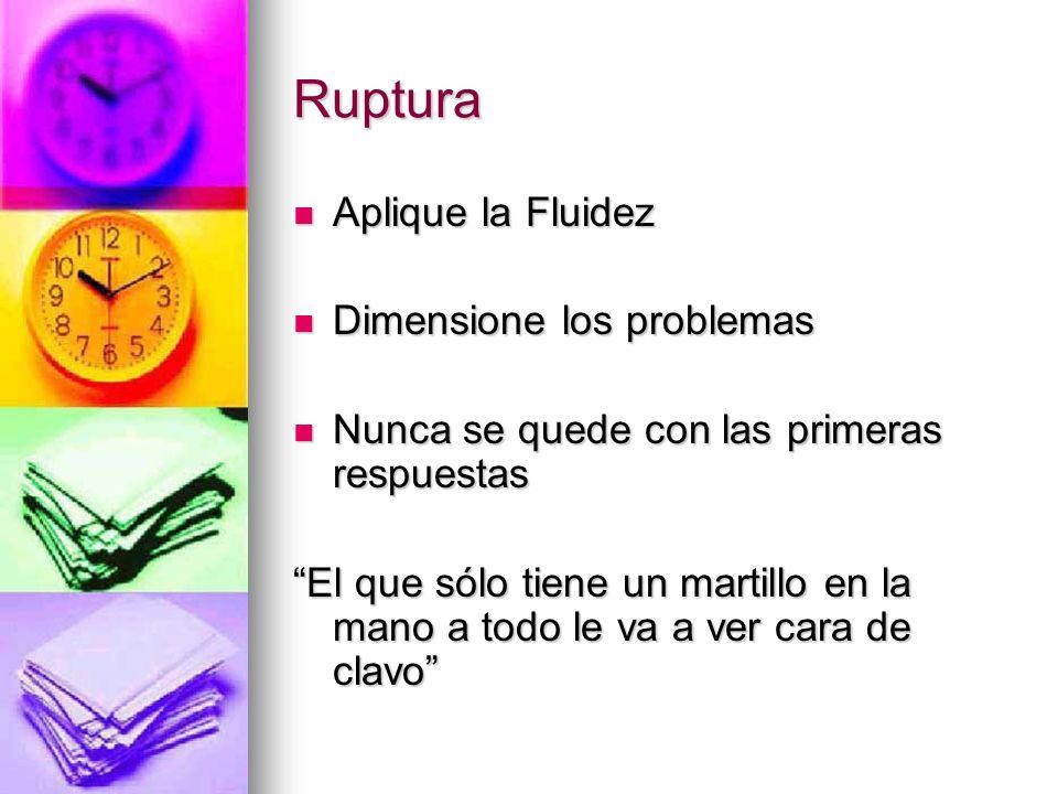 Ruptura Aplique la Fluidez Aplique la Fluidez Dimensione los problemas Dimensione los problemas Nunca se quede con las primeras respuestas Nunca se qu