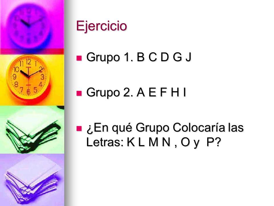 Ejercicio Grupo 1. B C D G J Grupo 1. B C D G J Grupo 2. A E F H I Grupo 2. A E F H I ¿En qué Grupo Colocaría las Letras: K L M N, O y P? ¿En qué Grup