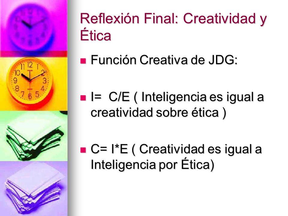 Reflexión Final: Creatividad y Ética Función Creativa de JDG: Función Creativa de JDG: I=C/E ( Inteligencia es igual a creatividad sobre ética ) I=C/E