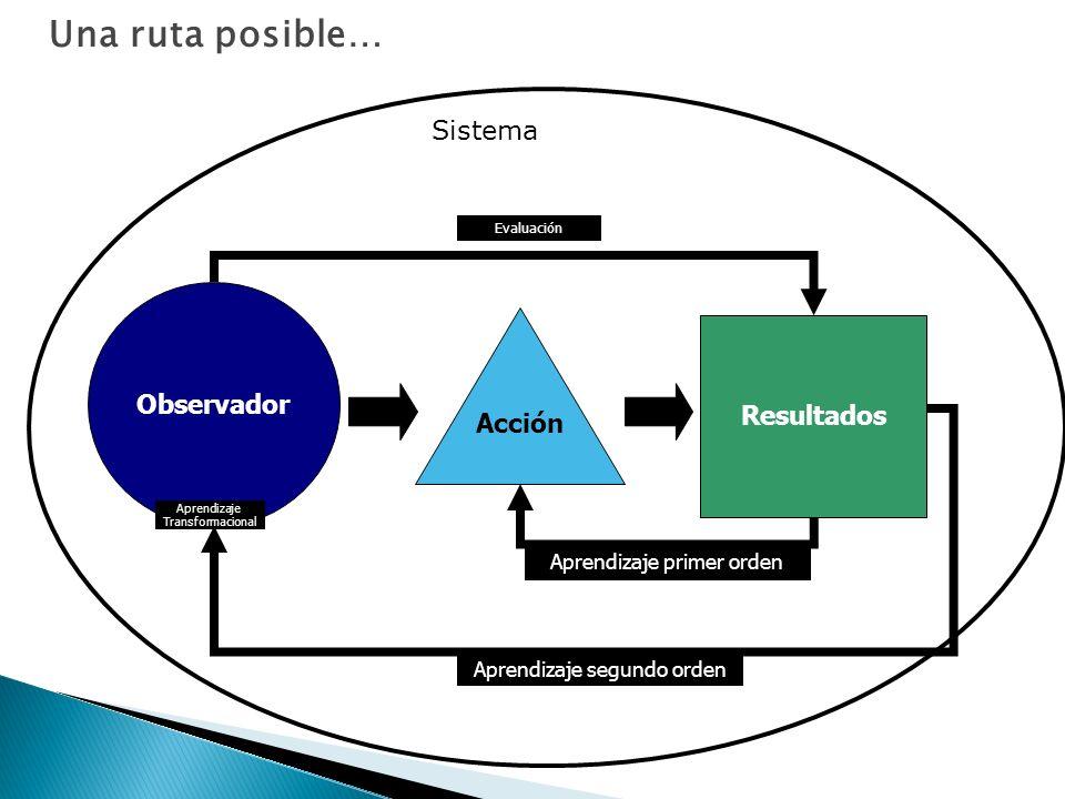 Observador Acción Resultados Aprendizaje segundo orden Evaluación Aprendizaje primer orden Una ruta posible… Aprendizaje Transformacional Sistema