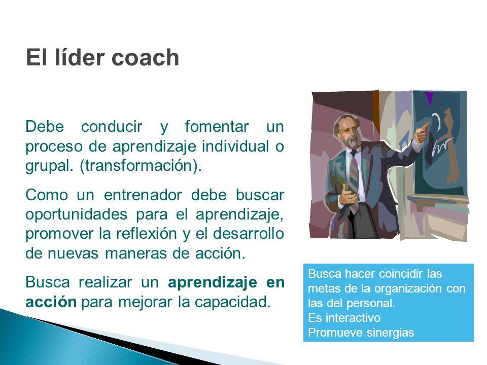 Debe conducir y fomentar un proceso de aprendizaje individual o grupal. (transformación). Como un entrenador debe buscar oportunidades para el aprendi