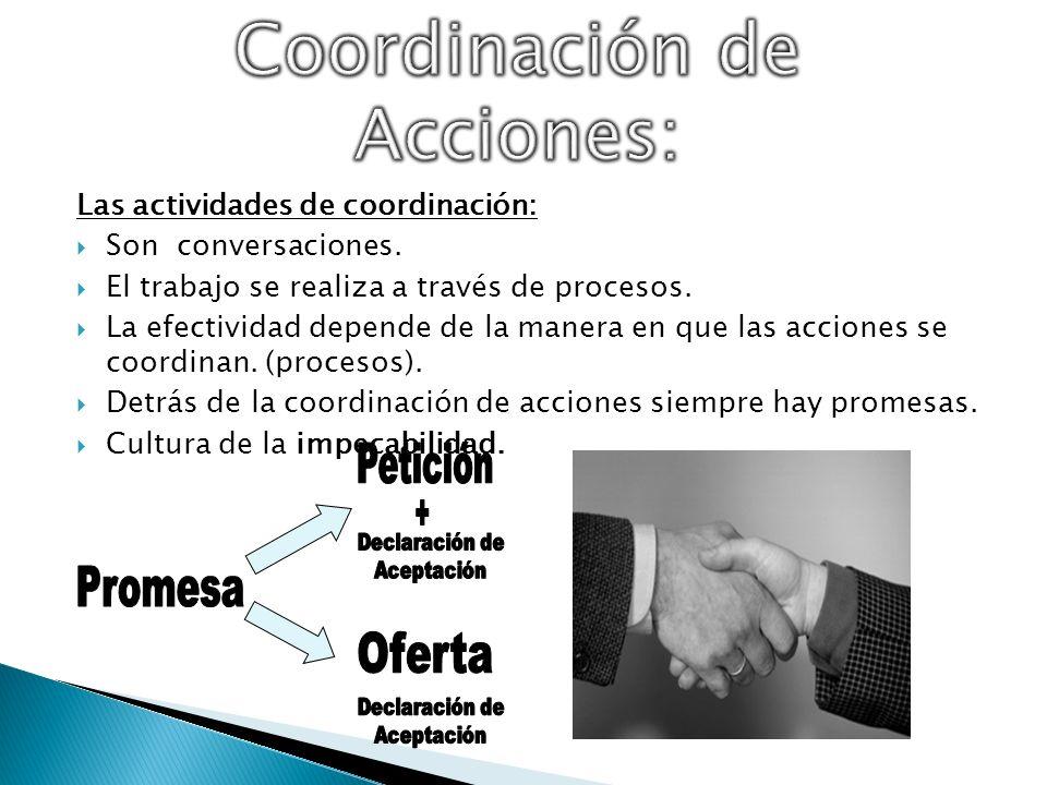 Las actividades de coordinación: Son conversaciones. El trabajo se realiza a través de procesos. La efectividad depende de la manera en que las accion