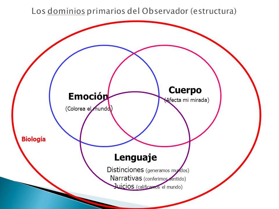 Emoción Cuerpo Lenguaje Biología (Afecta mi mirada) (Colorea el mundo ) Distinciones (generamos mundos) Narrativas (conferimos sentido) Juicios (calif