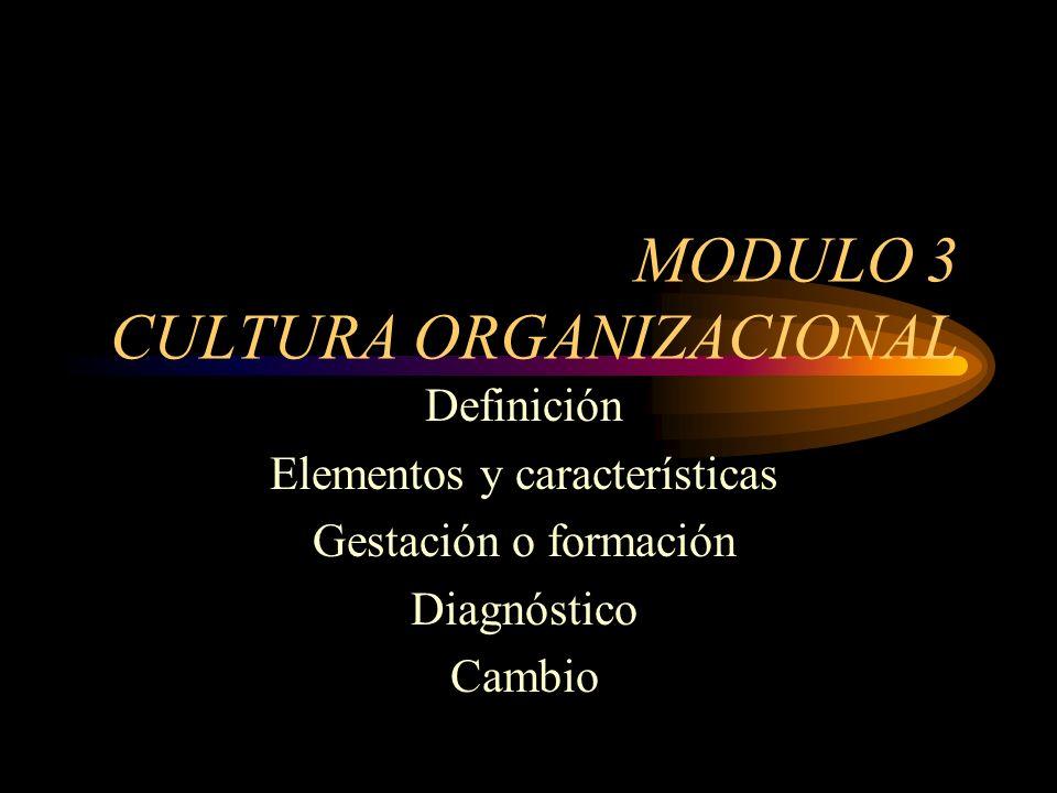 MODULO 3 CULTURA ORGANIZACIONAL Definición Elementos y características Gestación o formación Diagnóstico Cambio