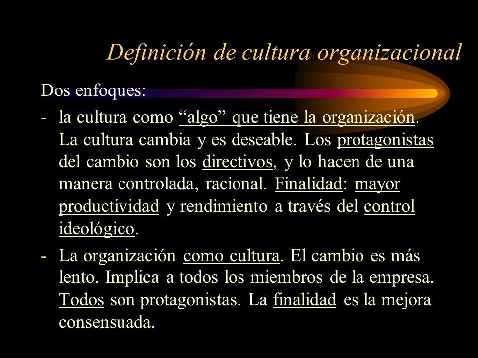 Definición de cultura organizacional Dos enfoques: -la cultura como algo que tiene la organización. La cultura cambia y es deseable. Los protagonistas