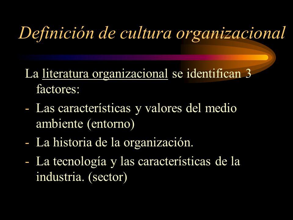 Definición de cultura organizacional Tres enfoques: -los que definen la cultura como conjunto de juicios, creencias y valoraciones compartidas por los miembros de la organización.