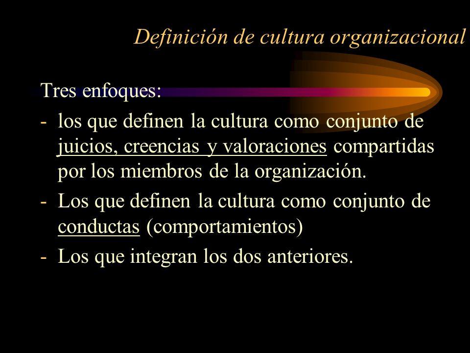 Definición de cultura organizacional Tres enfoques: -los que definen la cultura como conjunto de juicios, creencias y valoraciones compartidas por los