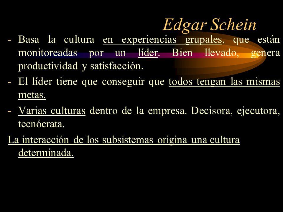 Edgar Schein -Basa la cultura en experiencias grupales, que están monitoreadas por un líder. Bien llevado, genera productividad y satisfacción. -El lí