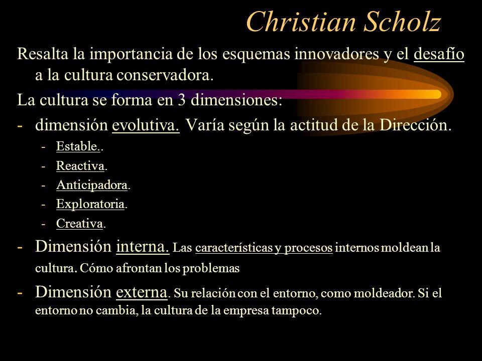 Christian Scholz Resalta la importancia de los esquemas innovadores y el desafío a la cultura conservadora. La cultura se forma en 3 dimensiones: -dim