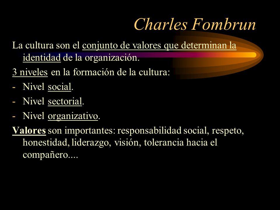 Charles Fombrun La cultura son el conjunto de valores que determinan la identidad de la organización. 3 niveles en la formación de la cultura: -Nivel