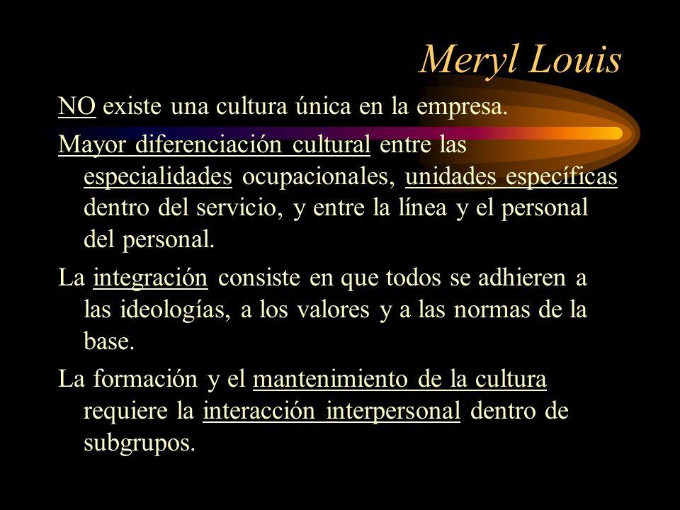 Meryl Louis NO existe una cultura única en la empresa. Mayor diferenciación cultural entre las especialidades ocupacionales, unidades específicas dent