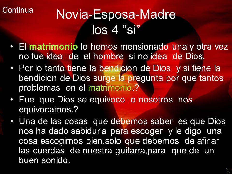 Novia-Esposa-Madre los 4 si El matrimonio lo hemos mensionado una y otra vez no fue idea de el hombre si no idea de Dios. Por lo tanto tiene la bendic