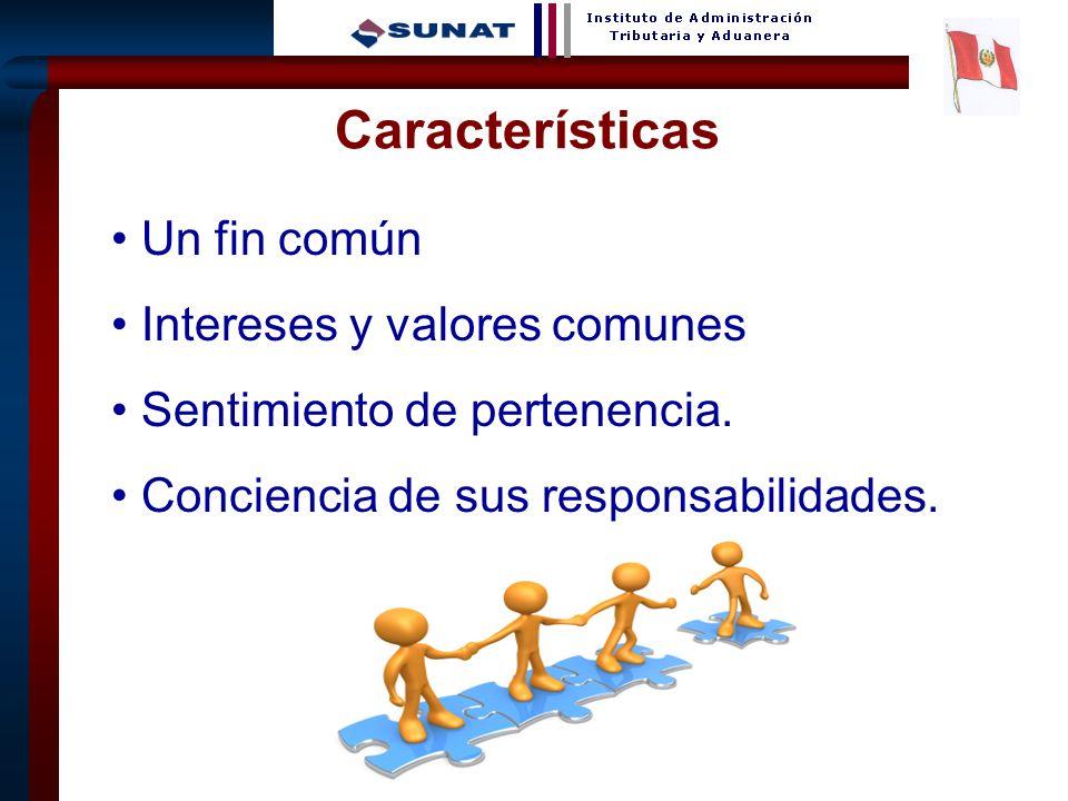 3 Un fin común Intereses y valores comunes Sentimiento de pertenencia. Conciencia de sus responsabilidades. Características