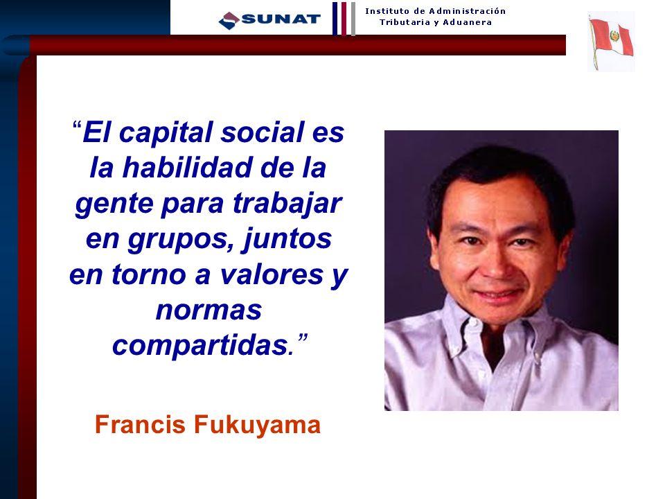 8 El capital social es la habilidad de la gente para trabajar en grupos, juntos en torno a valores y normas compartidas. Francis Fukuyama