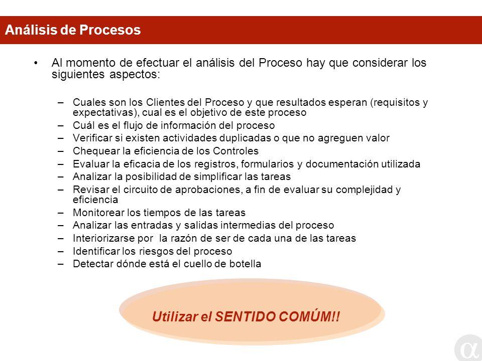 Análisis de Procesos Al momento de efectuar el análisis del Proceso hay que considerar los siguientes aspectos: –Cuales son los Clientes del Proceso y