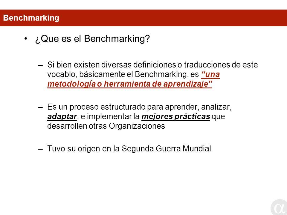 ¿Que es el Benchmarking? –Si bien existen diversas definiciones o traducciones de este vocablo, básicamente el Benchmarking, es una metodología o herr