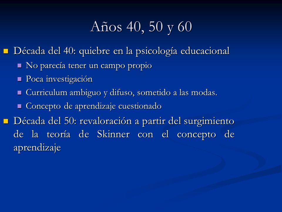 Años 40, 50 y 60 Década del 40: quiebre en la psicología educacional Década del 40: quiebre en la psicología educacional No parecía tener un campo pro