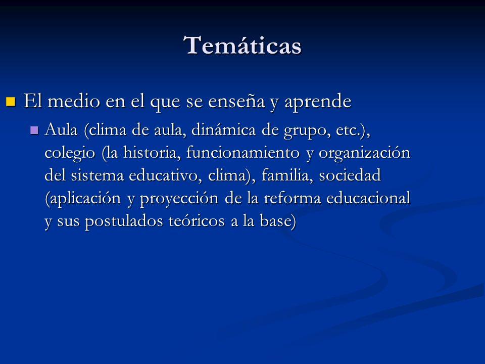 Temáticas El medio en el que se enseña y aprende El medio en el que se enseña y aprende Aula (clima de aula, dinámica de grupo, etc.), colegio (la his