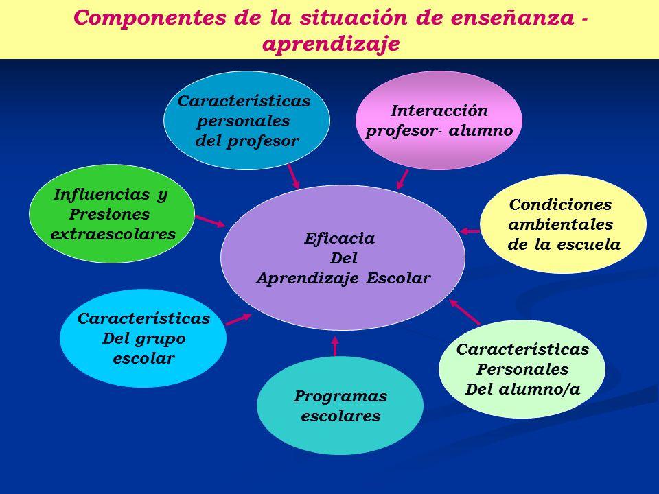 Características personales del profesor Influencias y Presiones extraescolares Interacción profesor- alumno Eficacia Del Aprendizaje Escolar Condicion