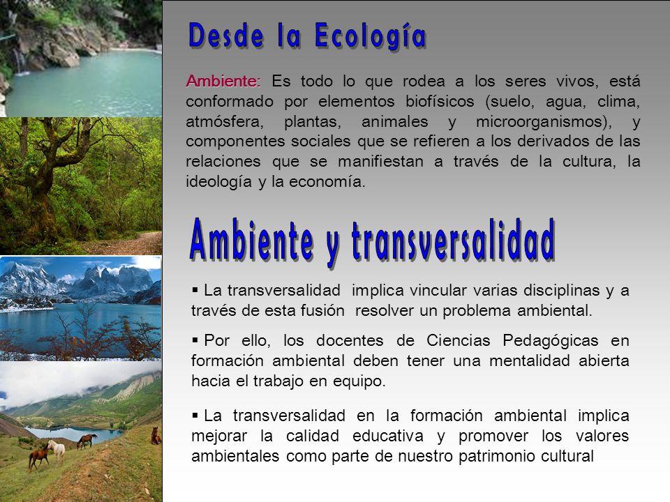 Ambiente: Ambiente: Es todo lo que rodea a los seres vivos, está conformado por elementos biofísicos (suelo, agua, clima, atmósfera, plantas, animales y microorganismos), y componentes sociales que se refieren a los derivados de las relaciones que se manifiestan a través de la cultura, la ideología y la economía.