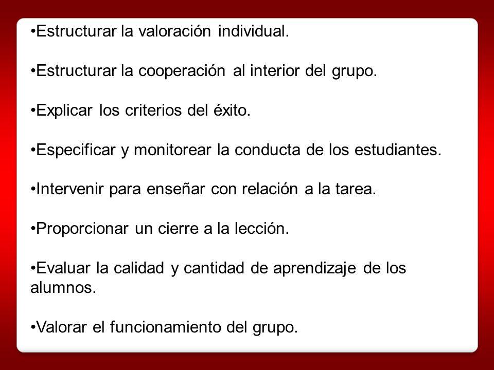 Estructurar la valoración individual. Estructurar la cooperación al interior del grupo. Explicar los criterios del éxito. Especificar y monitorear la