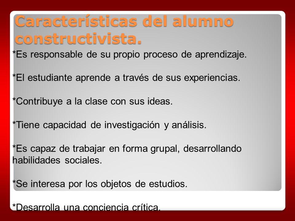 *Es responsable de su propio proceso de aprendizaje. *El estudiante aprende a través de sus experiencias. *Contribuye a la clase con sus ideas. *Tiene