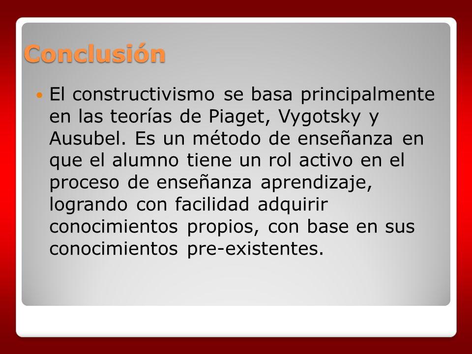Conclusión El constructivismo se basa principalmente en las teorías de Piaget, Vygotsky y Ausubel. Es un método de enseñanza en que el alumno tiene un