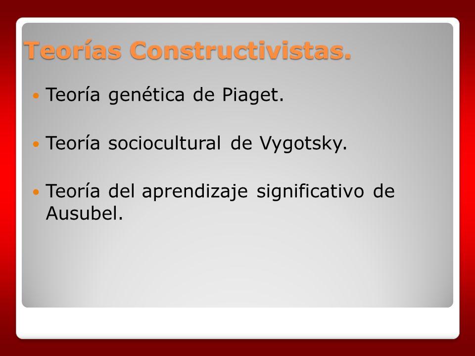Teorías Constructivistas. Teoría genética de Piaget. Teoría sociocultural de Vygotsky. Teoría del aprendizaje significativo de Ausubel.
