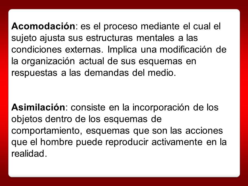 Acomodación: es el proceso mediante el cual el sujeto ajusta sus estructuras mentales a las condiciones externas. Implica una modificación de la organ