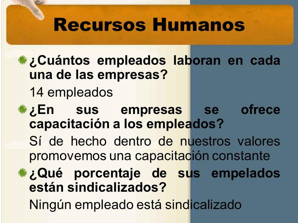 Recursos Humanos ¿Cuántos empleados laboran en cada una de las empresas? 14 empleados ¿En sus empresas se ofrece capacitación a los empleados? Sí de h