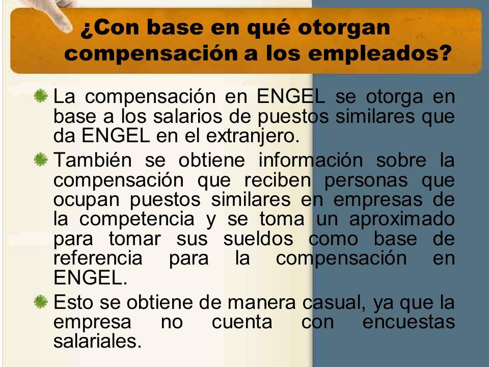 ¿Con base en qué otorgan compensación a los empleados? La compensación en ENGEL se otorga en base a los salarios de puestos similares que da ENGEL en