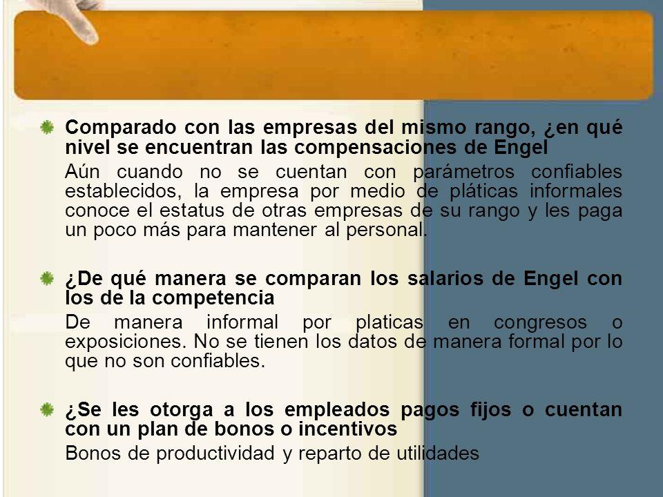 Comparado con las empresas del mismo rango, ¿en qué nivel se encuentran las compensaciones de Engel Aún cuando no se cuentan con parámetros confiables