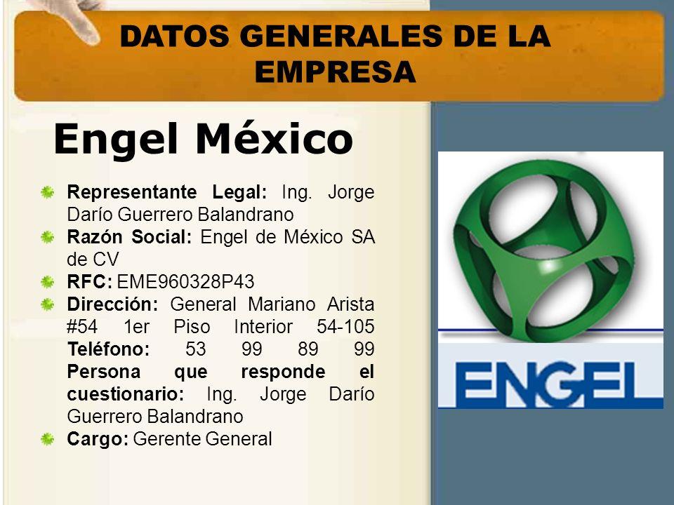 Engel México Representante Legal: Ing. Jorge Darío Guerrero Balandrano Razón Social: Engel de México SA de CV RFC: EME960328P43 Dirección: General Mar