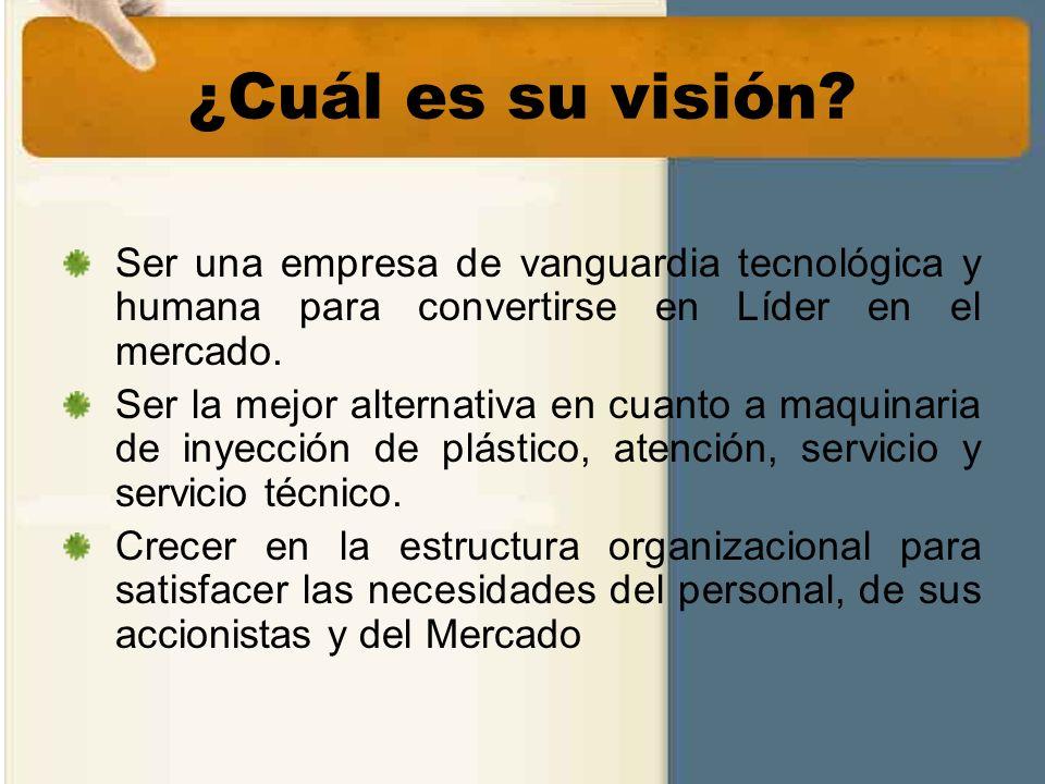 ¿Cuál es su visión? Ser una empresa de vanguardia tecnológica y humana para convertirse en Líder en el mercado. Ser la mejor alternativa en cuanto a m
