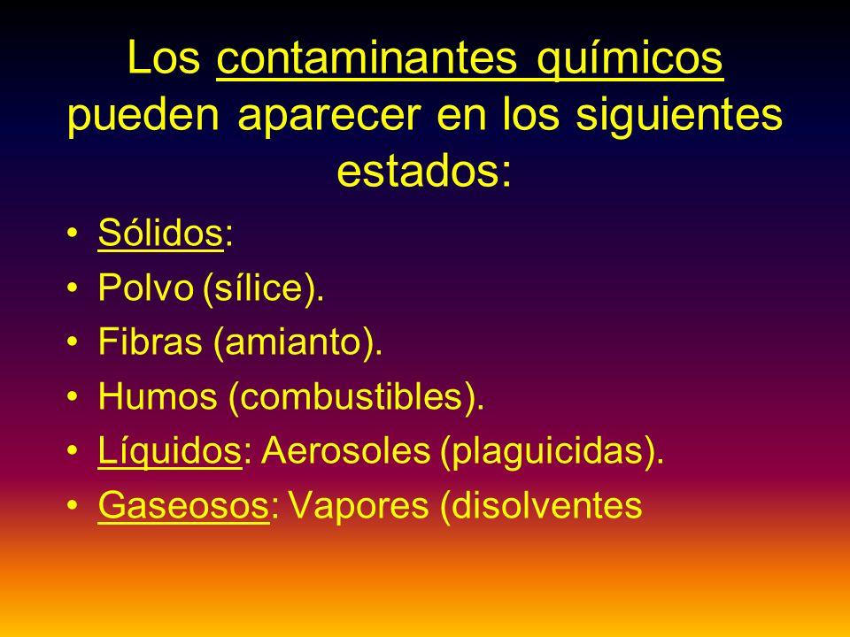 Los contaminantes químicos pueden aparecer en los siguientes estados: Sólidos: Polvo (sílice).