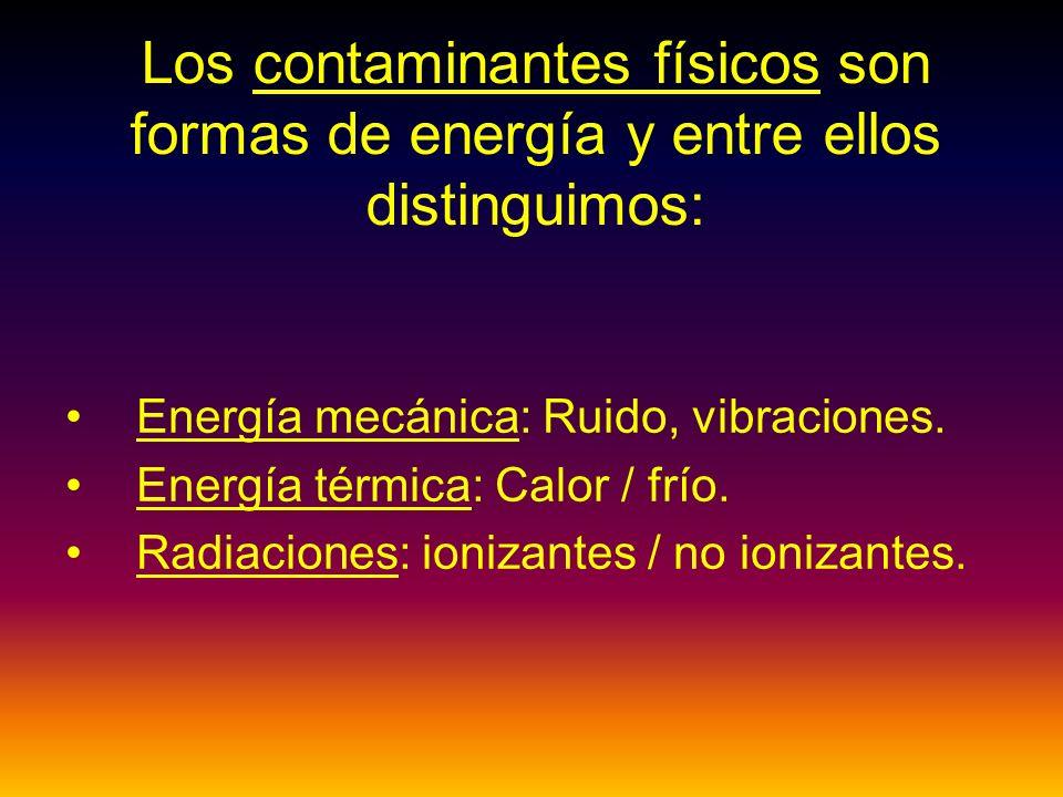 Los contaminantes físicos son formas de energía y entre ellos distinguimos: Energía mecánica: Ruido, vibraciones.