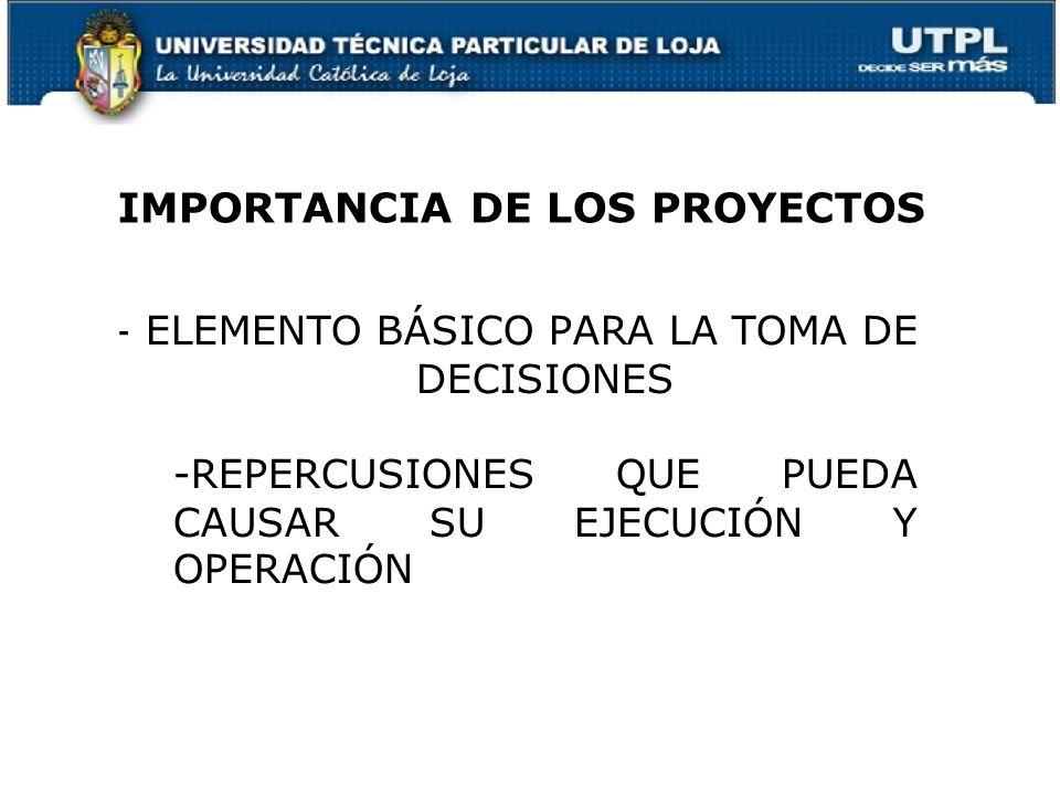 - ELEMENTO BÁSICO PARA LA TOMA DE DECISIONES -REPERCUSIONES QUE PUEDA CAUSAR SU EJECUCIÓN Y OPERACIÓN IMPORTANCIA DE LOS PROYECTOS 4