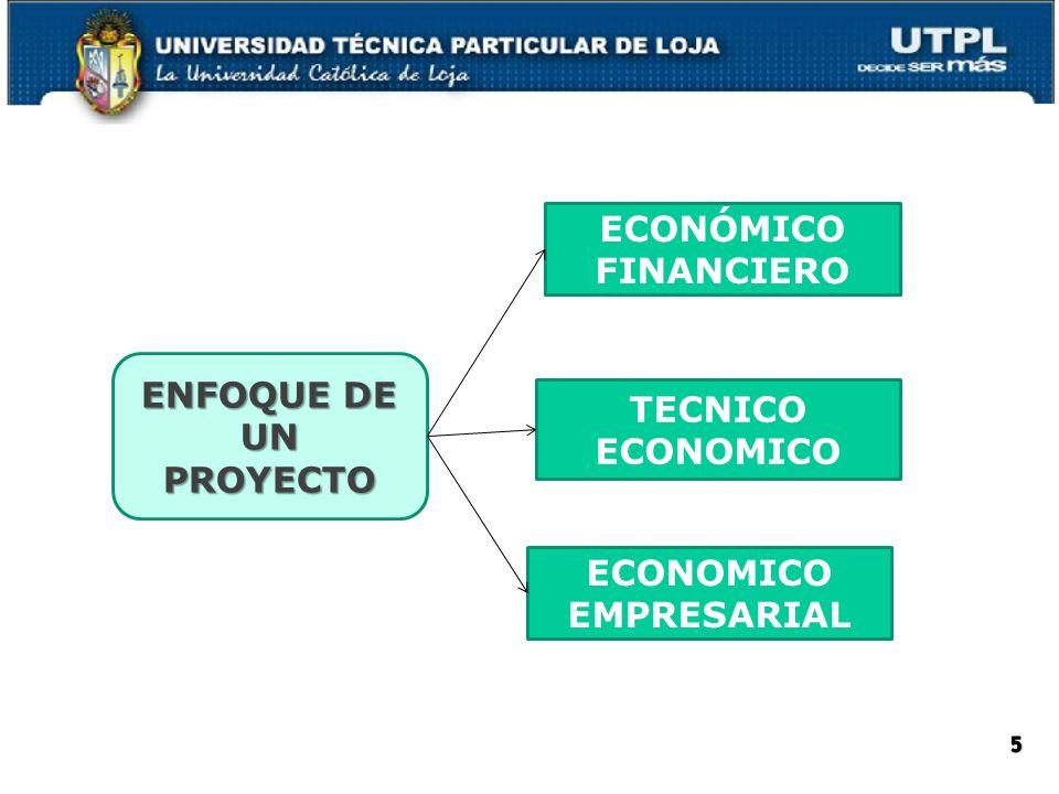 ECONÓMICO FINANCIERO TECNICO ECONOMICO ECONOMICO EMPRESARIAL ENFOQUE DE UN PROYECTO