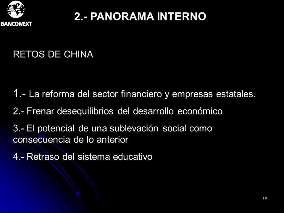 10 2.- PANORAMA INTERNO RETOS DE CHINA 1.- La reforma del sector financiero y empresas estatales. 2.- Frenar desequilibrios del desarrollo económico 3