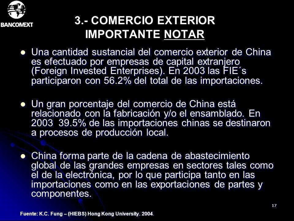 17 3.- COMERCIO EXTERIOR IMPORTANTE NOTAR Una cantidad sustancial del comercio exterior de China es efectuado por empresas de capital extranjero (Fore