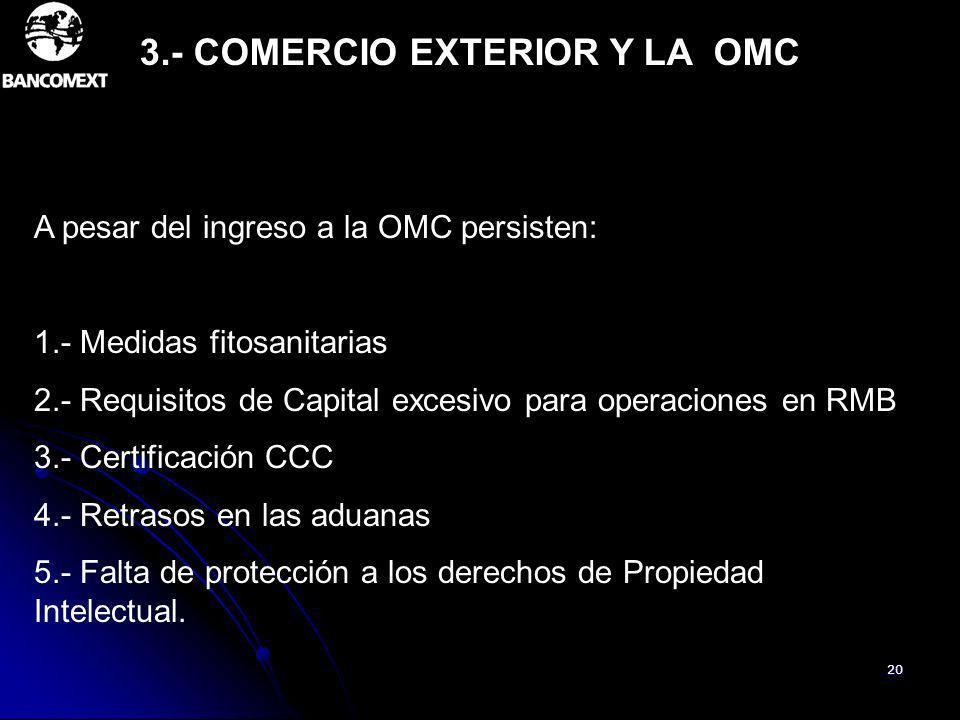 20 A pesar del ingreso a la OMC persisten: 1.- Medidas fitosanitarias 2.- Requisitos de Capital excesivo para operaciones en RMB 3.- Certificación CCC