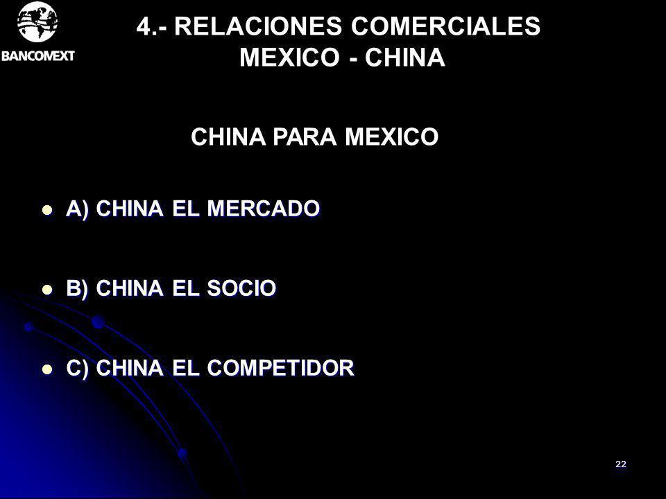22 4.- RELACIONES COMERCIALES MEXICO - CHINA A) CHINA EL MERCADO A) CHINA EL MERCADO B) CHINA EL SOCIO B) CHINA EL SOCIO C) CHINA EL COMPETIDOR C) CHI