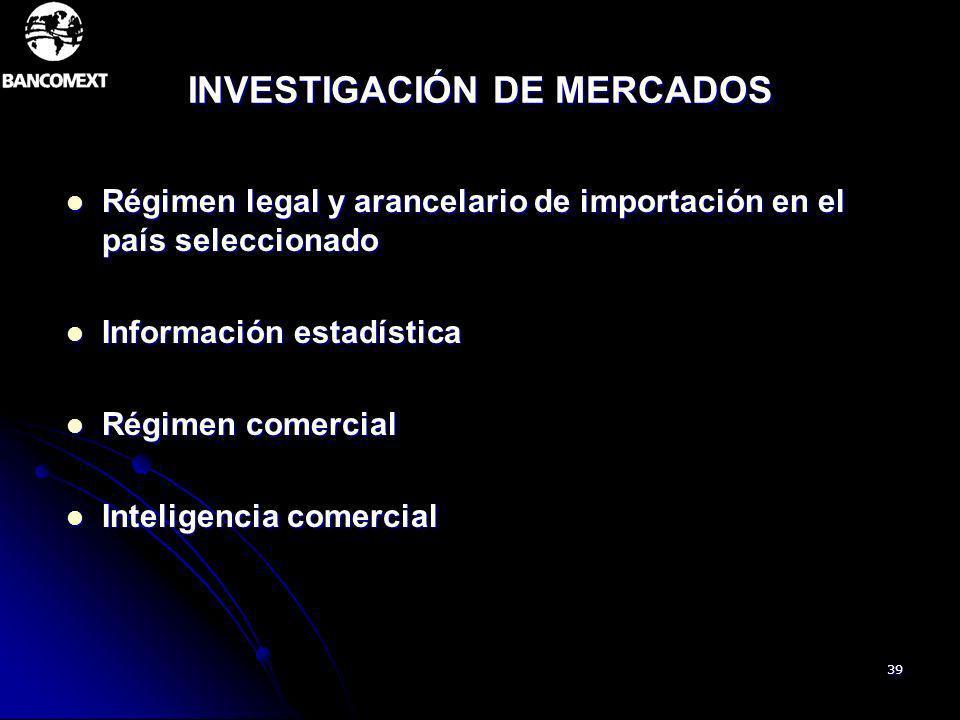 39 INVESTIGACIÓN DE MERCADOS Régimen legal y arancelario de importación en el país seleccionado Régimen legal y arancelario de importación en el país