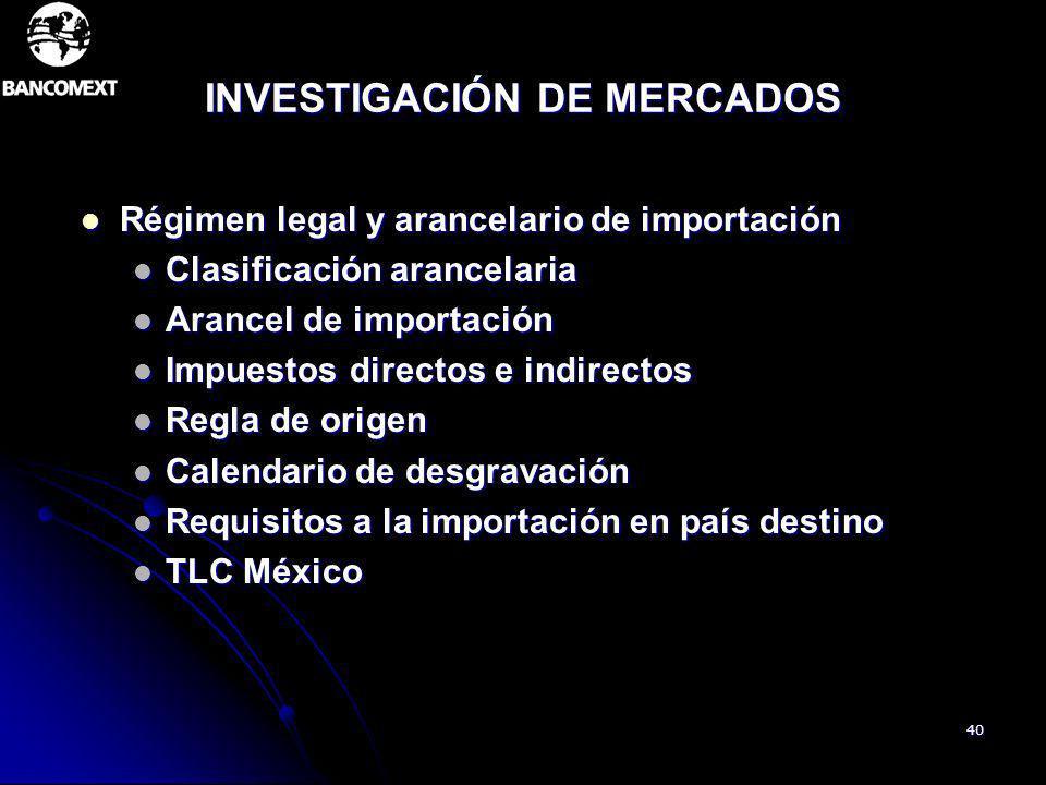 40 INVESTIGACIÓN DE MERCADOS Régimen legal y arancelario de importación Régimen legal y arancelario de importación Clasificación arancelaria Clasifica