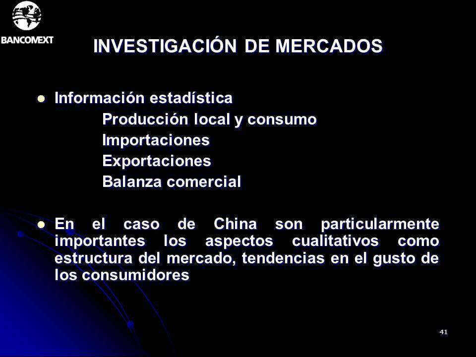 41 INVESTIGACIÓN DE MERCADOS Información estadística Información estadística Producción local y consumo Producción local y consumo Importaciones Impor