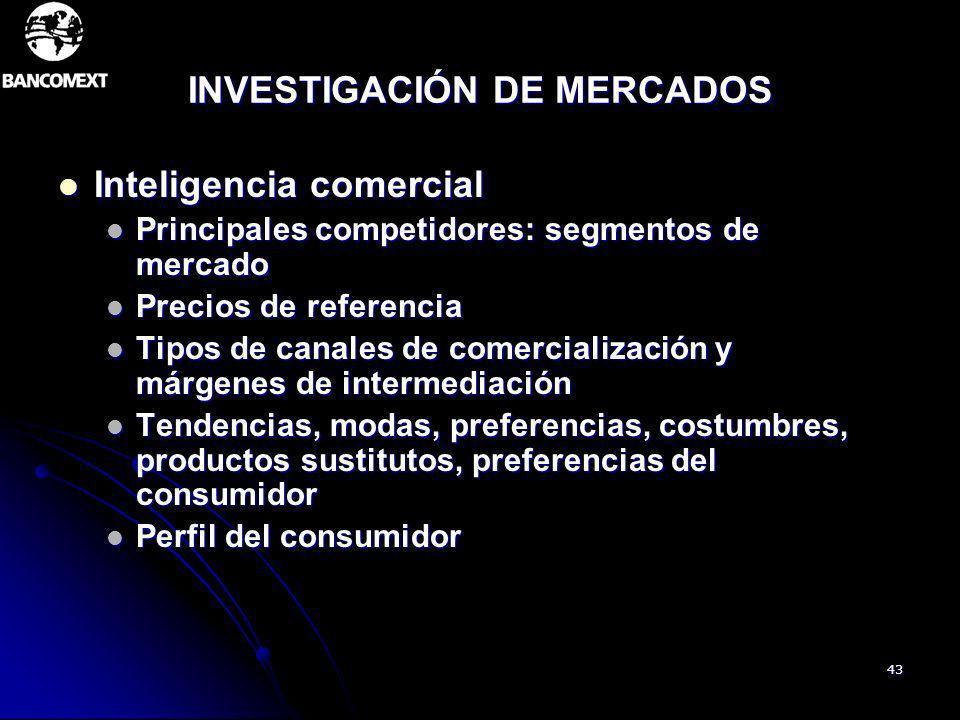 43 INVESTIGACIÓN DE MERCADOS Inteligencia comercial Inteligencia comercial Principales competidores: segmentos de mercado Principales competidores: se