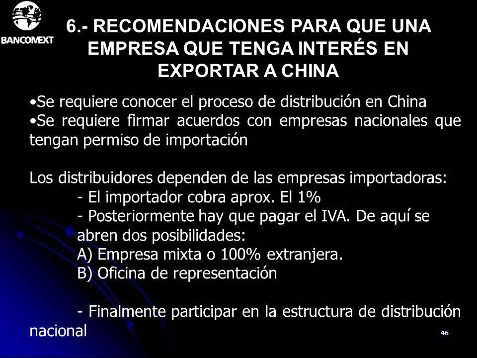 46 Se requiere conocer el proceso de distribución en China Se requiere firmar acuerdos con empresas nacionales que tengan permiso de importación Los d