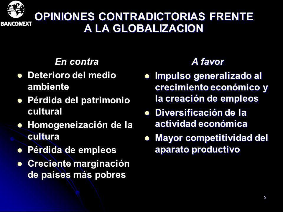 5 OPINIONES CONTRADICTORIAS FRENTE A LA GLOBALIZACION A favor Impulso generalizado al crecimiento económico y la creación de empleos Impulso generaliz
