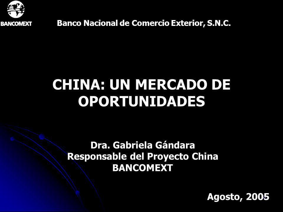 57 CHINA: UN MERCADO DE OPORTUNIDADES Banco Nacional de Comercio Exterior, S.N.C. Agosto, 2005 Dra. Gabriela Gándara Responsable del Proyecto China BA