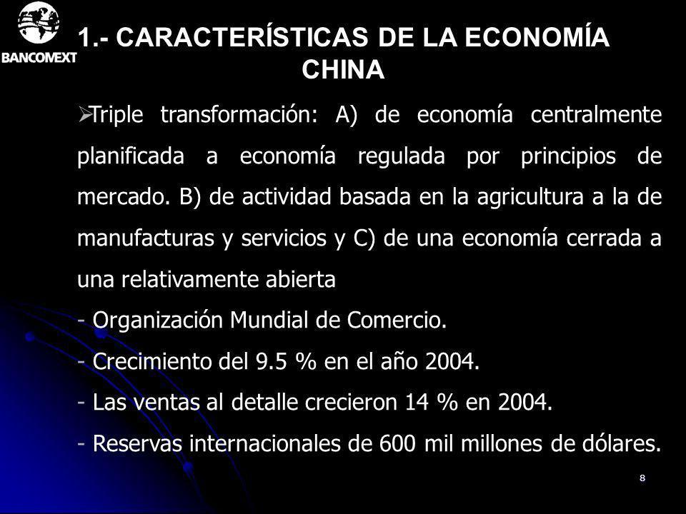 8 Triple transformación: A) de economía centralmente planificada a economía regulada por principios de mercado. B) de actividad basada en la agricultu